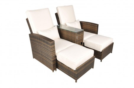 Nevada Rattan Garden Furniture [2 Seat Lounger Set] Extended 1