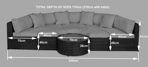 Monaco Rattan Garden Furniture [Semi Circle Sofa Set] Dimensions
