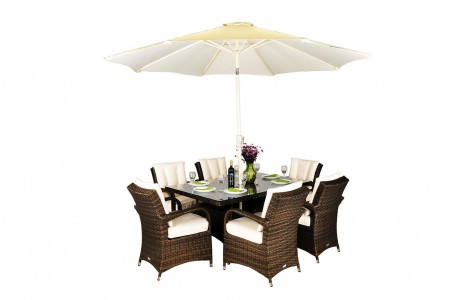 Front of Arizona Rattan Garden Furniture [6 Seat Dining Set with Rectangular Table]