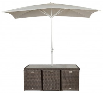 Parasol of Giardino Rattan Garden Furniture [6 Seat Cube Dining Set Plus Umbrella]
