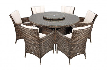 Savannah Rattan Garden Furniture [6 Seat Dining Set Plus Back Cushion] Full