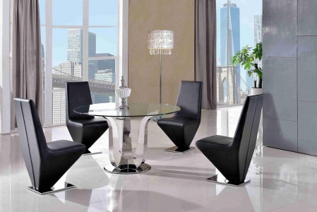 Naples Glass and Polished Steel Dining Table with 4 Rita Designer Dining Chairs [Black]