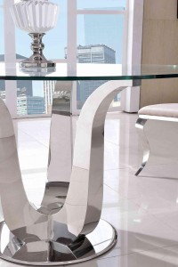 Side of Naples Glass and Polished Steel Dining Table