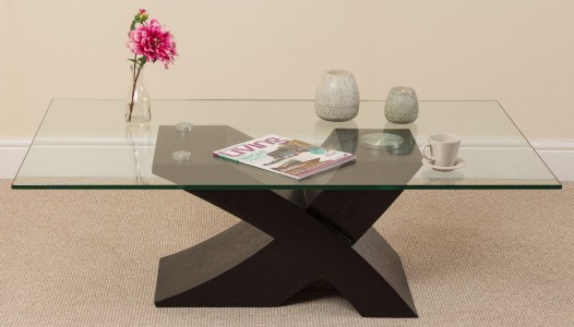 Miliano Glass and Wood Coffee Table [Black Wood] - Side