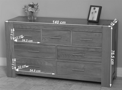 Kuba Solid Oak Chest of Drawers - Dimensions