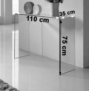 Crystal curved Glass Console Table - Dimensions