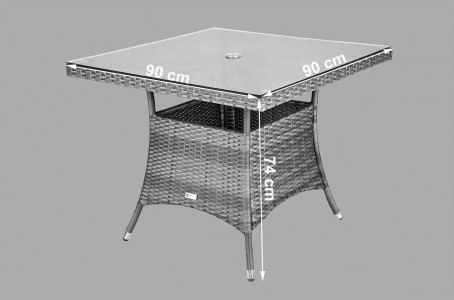 Arizona Rattan [4 Seat Dining Set Square Table] Dimensions