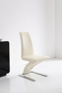 Front of Zed Designer Dining Chairs [Ivory]