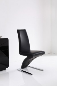 Front of Zed Designer Dining Chairs [Black]