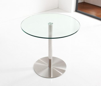 Target Round Glass and Steel 80cm Dining Table Only