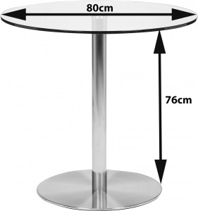 Target Round Glass and Steel 80cm Dining Table Dimensions
