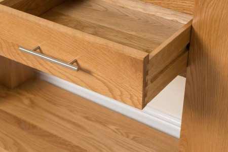Kuba Solid Oak Console Table - Drawer Open