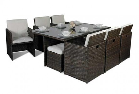 Side of Giardino Rattan Garden Furniture [6 Seat Cube Dining Set Plus Umbrella]