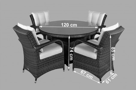 Arizona Rattan Garden Furniture [4 Seat Dining Set with Round Table] Dimensions