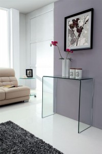 Crystal Small Glass Console Table