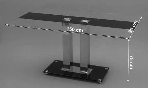 Roma Black Glass Dining Table Dimensions