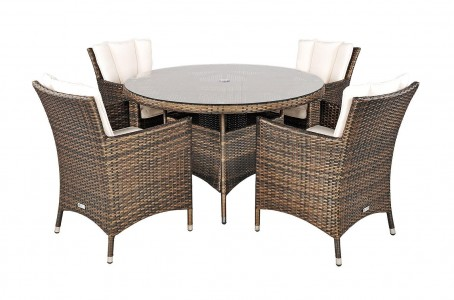 Savannah Rattan Garden Furniture [4 Seat Dining Set Plus Back Cushion] 2