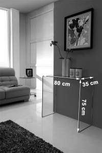 Crystal Small Glass Console Table - Dimensions