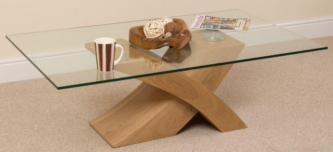 Milano Coffee Table [Glass and Solid Oak] 2