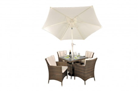Savannah Rattan Garden Furniture [4 Seat Dining Set with Square Table] Parasol