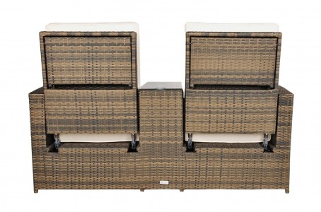 Back of Nevada Rattan Garden Furniture [2 Seat Lounger Set]