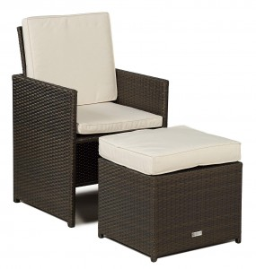 Giardino Rattan Garden Furniture [4 Seat Cube Dining Set Plus Umbrella] Chair only