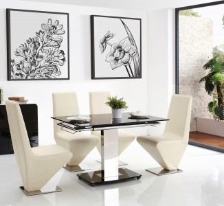 Front of Enzo 80-120cm Extending Glass Dining Table with 6 Rita Designer Dining Chairs [Ivory]