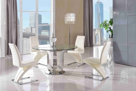 Naples Glass and Polished Steel Dining Table with 4 Zed Designer Dining Chairs [Ivory]