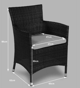 Savannah Rattan Garden Furniture [6 Seat Dining Set Plus Back Cushion] Seat Dimensions
